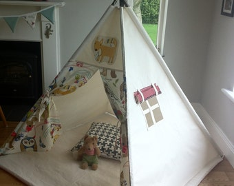 Child's Teepee play tent with woodland animals