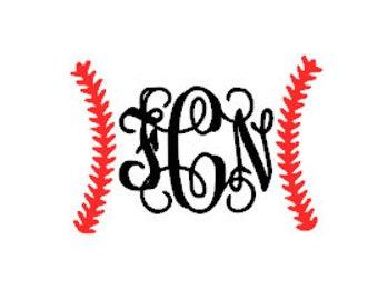 Baseball/Softball Stitches Monogram/Initials Vinyl Card Decal/Sticker