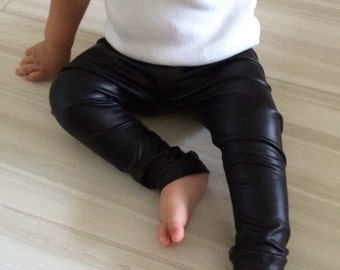 Black faux leather leggings // baby boy leggings // baby girl leggings // baby leggings