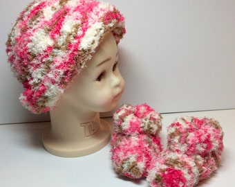 Ultra Soft Hand Knit Baby Hat and Booties Set