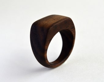 Black Walnut Flat Top Ring