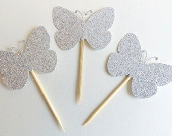 12 sillver butterfly cupcake topper