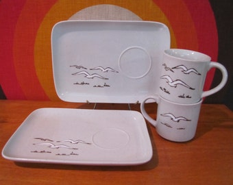 Vintage Snack Set with Seagulls, Otagiri Japan, Mug and Matching Plate, Flying Gulls, Stoneware Mug and Plate Set, 1970s, Hostess Gift