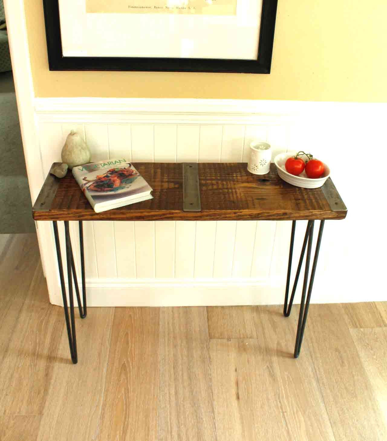 Wood Sofa Table ~ Metal inlayed reclaimed wood sofa table with hairpin legs