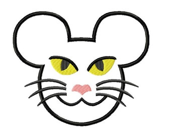 Character Black Cat Embroidery Applique Design