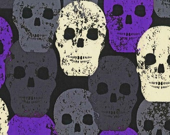 Skulls Out by Michael Miller - Skull of Rock Purple - Cotton Woven - FINAL CLEARANCE