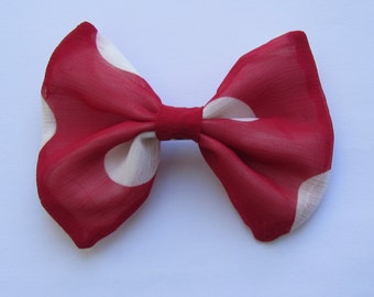 Red Polka Dot Hair Bow, Fancy Hair Bow,Girls Hair Bow,French Barrette,Hair Ornaments,Hair Accessories,Hair Clip,Bows For Hair, Bows,