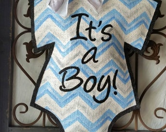 It's a boy! Baby announcement door hanger, hand painted burlap, hospital or baby shower hanger, baby gift. Can be personalized free!