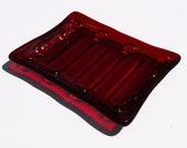Soap Dish, Draining Soap Dish, Trinket Tray, Ruby Red Dish, Soap Holder, Fused Glass Creation, Fused Glass Dish, Glass Decor