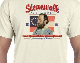 Stonewall Brigade Civil War T-shirt, General Stonewall Jackson, Est. 1861, 150th Civil War Sesquicentennial 100% Cotton Gift T-Shirt