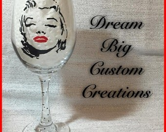 Marilyn Monroe Hand Painted Wine Glass