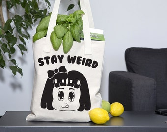 STAY WEIRD Tote Bag - Black and White