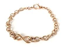 Rosegold bracelet infinite love, infinity symbol - rosegold plated, link chain, carabiner