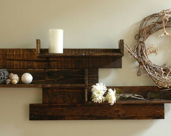 Modern Rustic Pallet Wood Shelves, Reclaimed Wood Shelves, Wall Decor, Rustic Wall Decor, Rustic Wood Shelves, Pallet Shelf, Rustic Pallet
