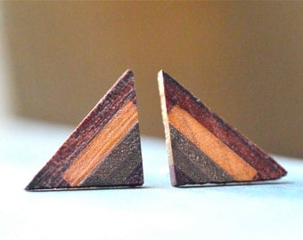 Triangle Wood Earrings, Wood Triangle Earrings, Geometric Wood Earrings, Wooden Earrings