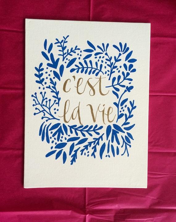 Cest La Vie Canvas Quote Painting Home Decor by