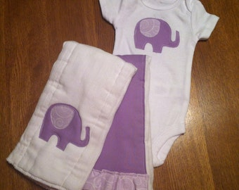Purple Elephant Bodysuit and Burp Cloth Set