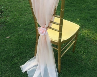 Gorgeous Wedding/Bridal Chiffon Chair Sash With Chiffon Rose