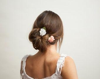 2 Piece Hair Clip Set - Pink, Cream and White |  Spring Summer Festival Bridal Wedding Party Fairy Boho Flowergirl Bridesmaid Hairclip