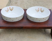 Cat Bowl Stand - Country Kitchen Theme - Dark Stain