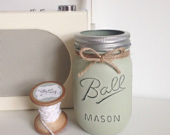 Hand painted and distressed Ball mason jar