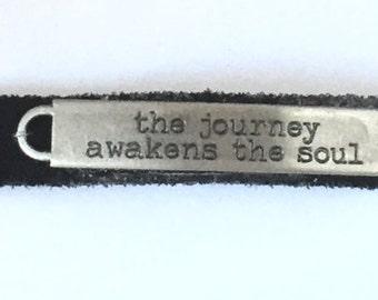 Bracelet black suede with message