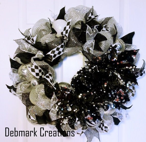 Reduced christmas wreath black and silver by debmarkcreations - Black and silver christmas ...