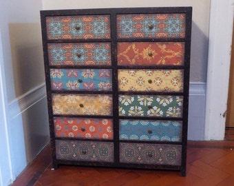 vintage multi moroccan pattern drawer cabinet