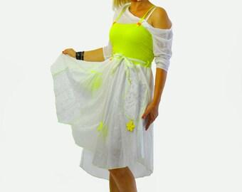White cotton dress skirt/Casual woman skirt/Summer cotton dress/Asymmetrical dress/Skirts with pockets/Long white skirt/Summer dress/Gabyga
