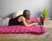 45X55 inches. Super lush carpet. Chunky rug. Giant knit. Cozy carpet. 23 microns merino wool.