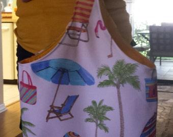 Beach Theme Tote Purse Canvas Bag