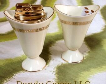 Lenox China, Ronson Lighter & Cigarette Cup, Greek Key