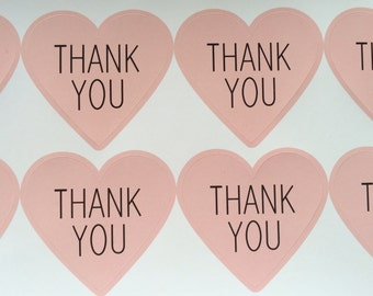 Thank You Stickers /Thank you hearts/Envelope seals, invitations, thank you cards/notes/Wedding, bridal/baby shower, engagement party/Pink/