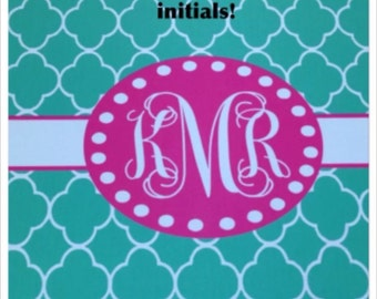 turquoise monogrammed mousepad turquose quatrefoil pink personalized mousepad