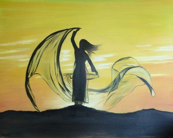 Chinese painting, sunset on canvas, chinese woman, large art, yellow painting, original canvas art, original painting, oil painting