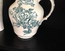 Vintage Heron Cross Pottery Pitcher, Summer Pattern