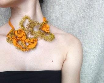 Wire crochet necklace, wire jewelry, silk necklace, orange silk yarn, textile jewelry, bib necklace