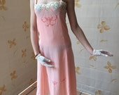 Handmade blush pink Gatsby vintage 1930s  embroidered silk and lace slip - bridal
