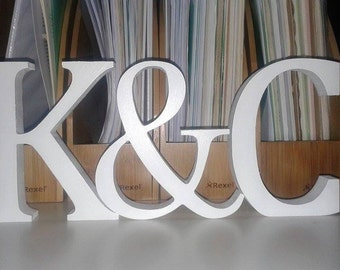 Wedding Decoration / Home Decoration - Free Standing Wooden Letters and an Ampersand, 13cm Large Letters - 2 Letters Plus & Sign, Initials