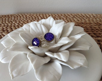 Royal purple glitter bronze 12mm post earrings. Are you a Royal?