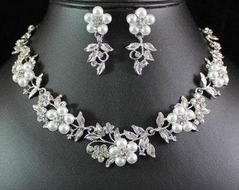 Gorgeous Floral Faux Pearl  Austrian Rhinestone Crystal Bridal Jewelry Set