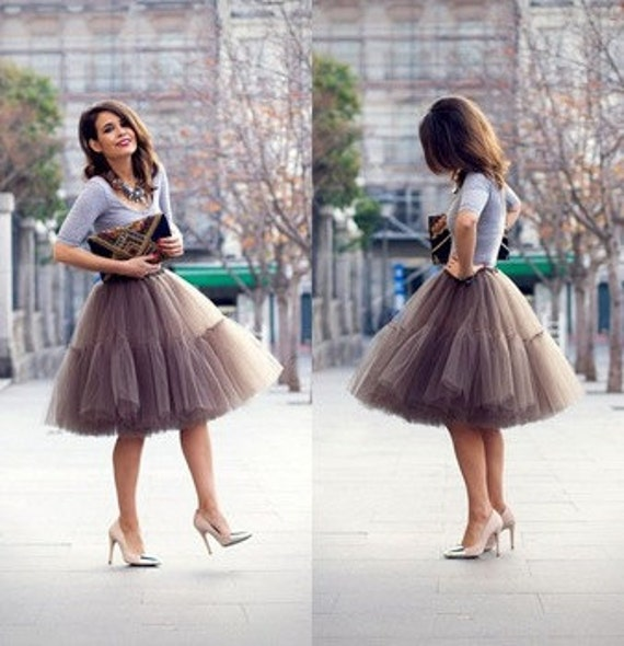 Mocha very fluffy full layered petticoat tulle skirt tutu for Fluffy skirt under wedding dress