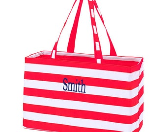 Monogram Red Stripe Ultimate Carry-All Tote, Beach Bag, Tailgating Tote