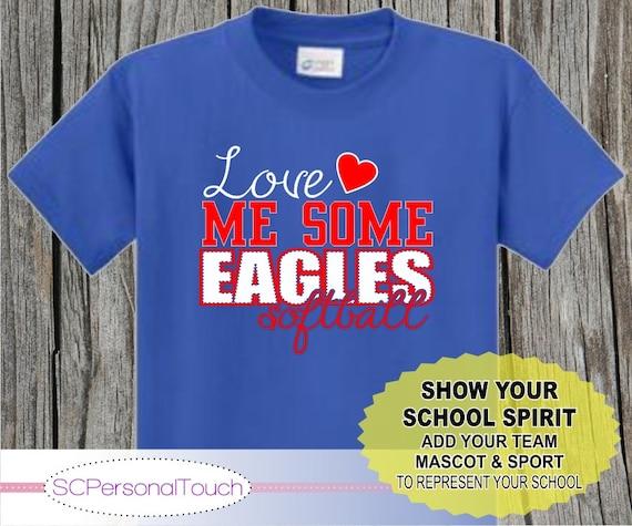 Love Me Some Softball Spirit Shirt with School and Mascot