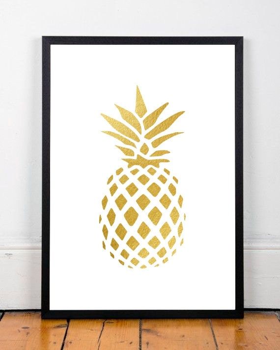 Pineapple printable gold wall decor botanical print gold for Gold wall art