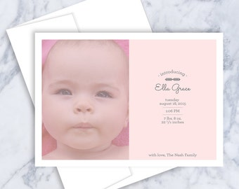 Photo, Birth Announcement, Baby Announcement, Photo Announcement, Photo Birth Card, Baby Girl, Baby Boy, Printable, Photo Card, New Baby