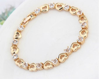 Gold Bracelet Austrian crystal 18k gold jewelry bridal and wedding jewelry brides maids authentic