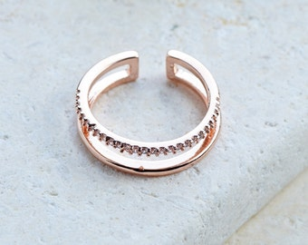 Grace Ring Double Layered Stacked Band Crystals