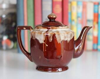 Brown drip-glazed teapot