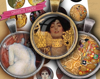 """Klimt modern Painters - digital collage sheet - td215 - 1.5"""", 1.25"""", 30mm, 1 inch or 25 mm- circle Images Glass & Resin x Pendants cabochon"""